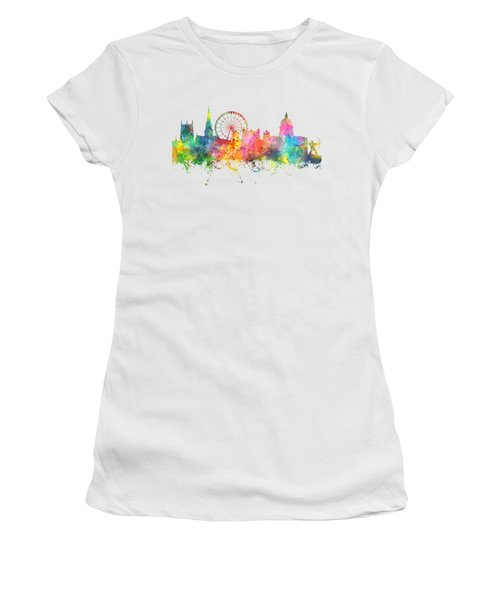 Nottingham  England Skyline Women's T-Shirt (Junior Cut) by Marlene Watson