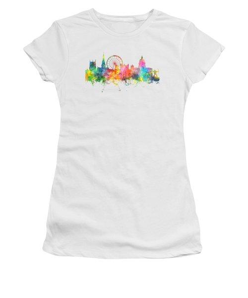 Nottingham  England Skyline Women's T-Shirt (Junior Cut) by Marlene Watson