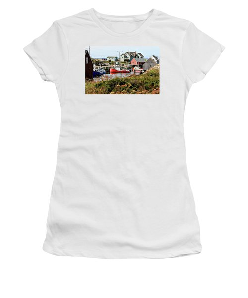 Women's T-Shirt (Junior Cut) featuring the photograph Nova Scotia Fishing Community by Jerry Battle