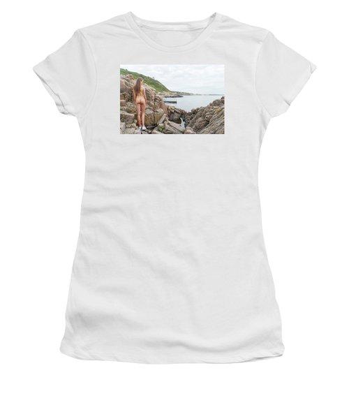 Nude Girl On Rocks Women's T-Shirt