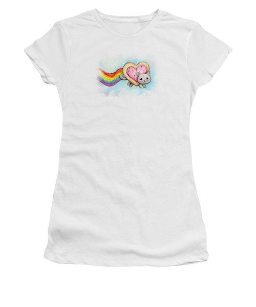 Nyan Cat Valentine Heart Women's T-Shirt