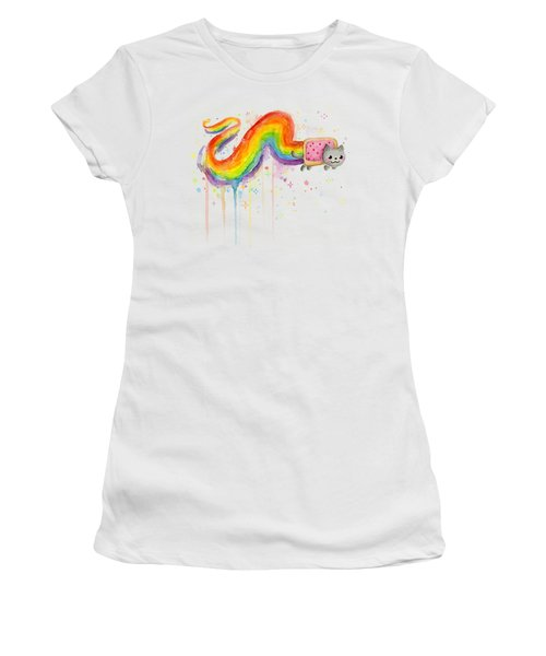 Nyan Cat Watercolor Women's T-Shirt (Junior Cut) by Olga Shvartsur