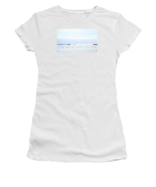 Ocean View With Seagulls Women's T-Shirt (Junior Cut) by Theresa Tahara