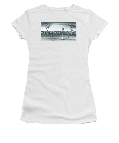 Women's T-Shirt (Junior Cut) featuring the painting Odd Couple. by Kenneth Clarke