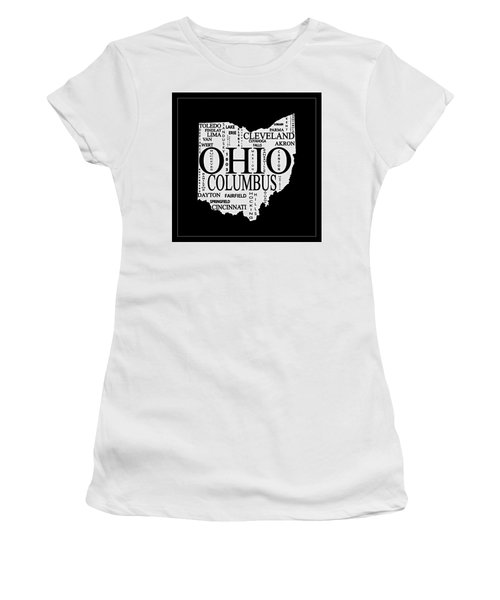 Women's T-Shirt (Athletic Fit) featuring the mixed media Ohio City Typography Map by Dan Sproul