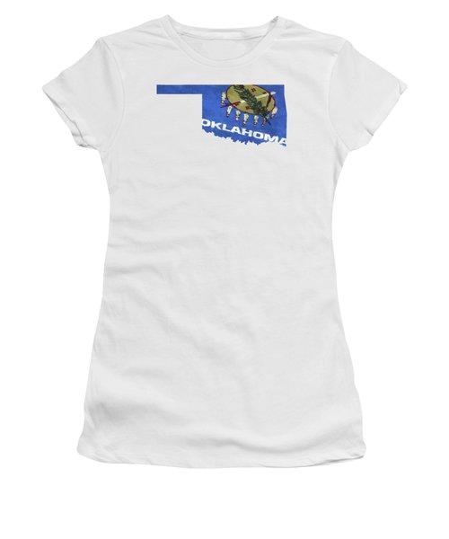 Oklahoma Map Art With Flag Design Women's T-Shirt
