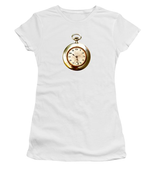 Women's T-Shirt (Junior Cut) featuring the photograph Old And Used Pocket Clock Om White Background by Michal Boubin