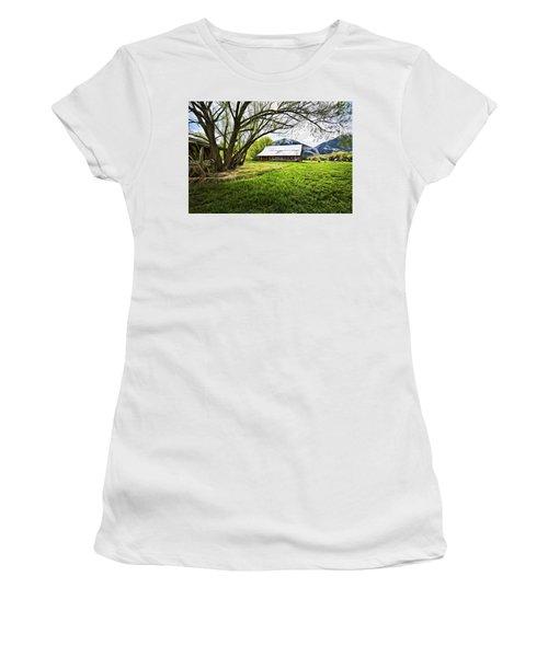 Women's T-Shirt (Junior Cut) featuring the digital art Old Barn In Eden Utah by James Steele