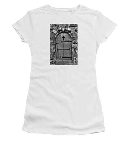 Women's T-Shirt (Junior Cut) featuring the photograph Old Church Door by Alana Ranney