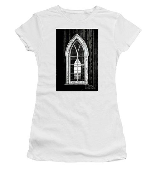 Women's T-Shirt (Junior Cut) featuring the photograph Old Church Window by Brad Allen Fine Art
