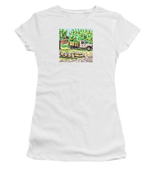 Women's T-Shirt featuring the painting Old Farming Truck by Monique Faella