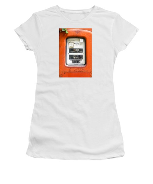 Women's T-Shirt (Junior Cut) featuring the photograph Old Gas Pump by Tom Singleton