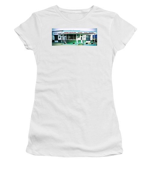 Old Gas Station Green Tile Women's T-Shirt