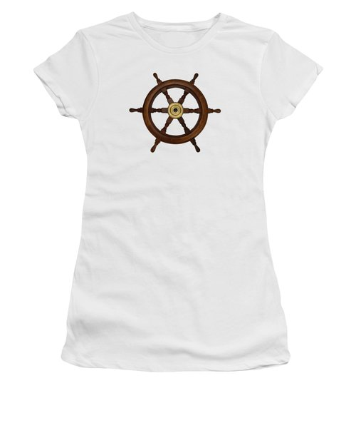 Old Oak Steering Wheel For Boats And Ships Women's T-Shirt (Junior Cut) by Tom Conway