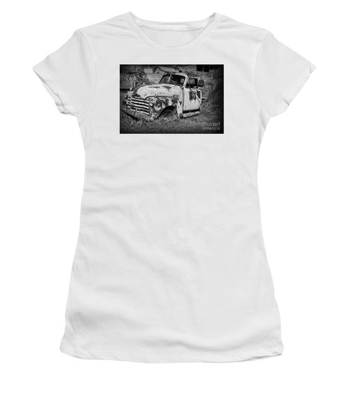 Old Rusty Chevy In Black And White Women's T-Shirt (Junior Cut) by Paul Ward