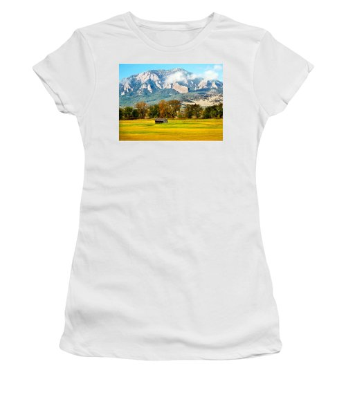 old shed against Flatirons Women's T-Shirt