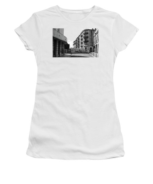 Old Town Neighborhood In The Black And White Of Blight Women's T-Shirt (Athletic Fit)