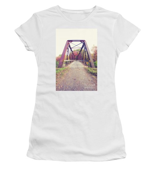 Women's T-Shirt (Athletic Fit) featuring the photograph Old Train Bridge Newport New Hampshire by Edward Fielding