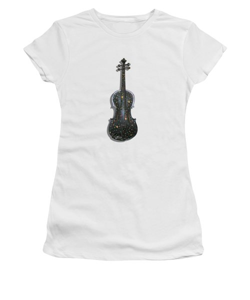 Old Violin With Painted Symbols Women's T-Shirt (Athletic Fit)