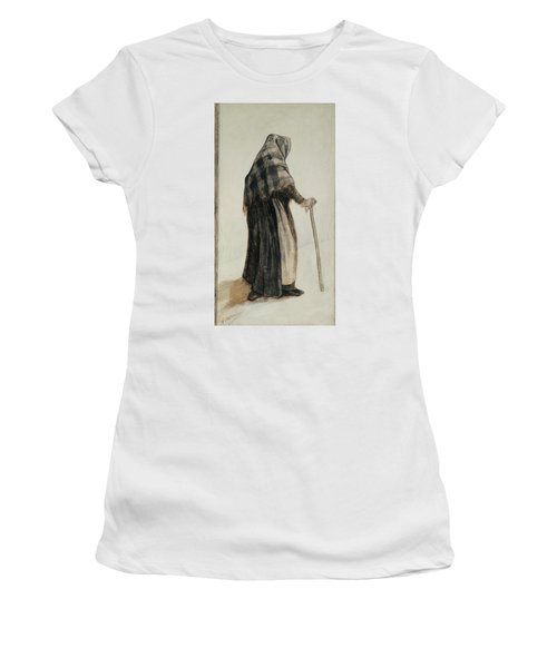 Old Woman With A Shawl And A Walking Stick, 1882 Women's T-Shirt