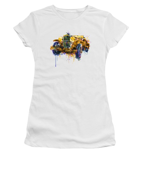 Oldtimer Automobile In Watercolor Women's T-Shirt (Athletic Fit)