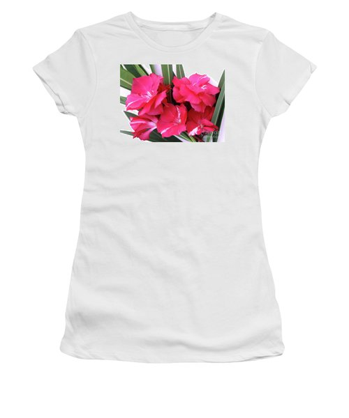 Women's T-Shirt (Junior Cut) featuring the photograph Oleander Geant Des Batailles 1 by Wilhelm Hufnagl
