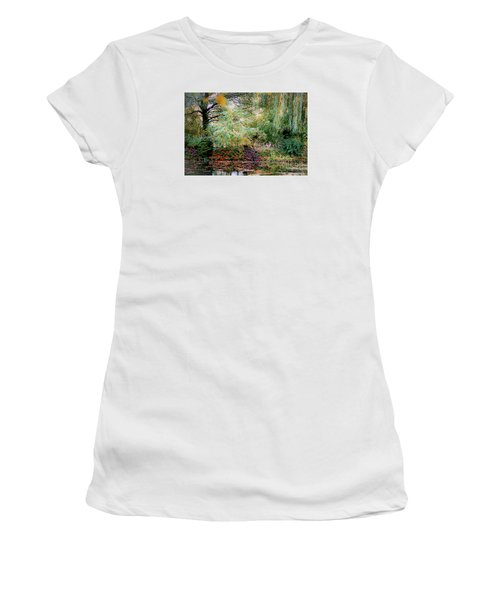 Reflection On, Oscar - Claude Monet's Garden Pond Women's T-Shirt