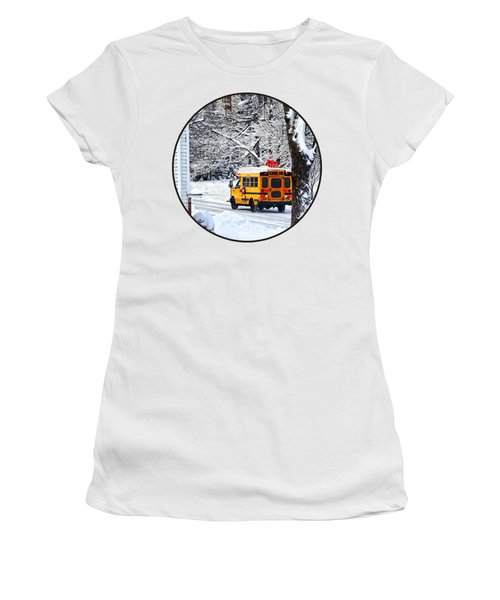 On The Way To School In Winter Women's T-Shirt (Junior Cut) by Susan Savad