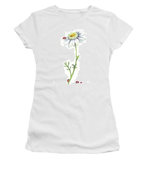 Women's T-Shirt (Junior Cut) featuring the painting One Daisy And Four Ladybugs by Heidi Kriel
