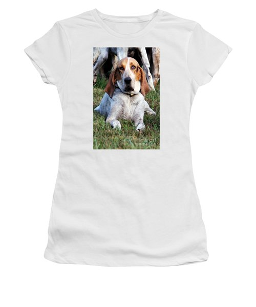 Women's T-Shirt (Junior Cut) featuring the photograph One Tired Hound by Polly Peacock