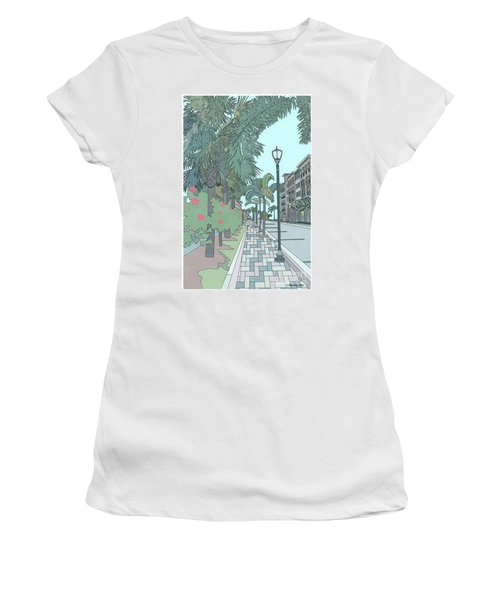 Women's T-Shirt (Athletic Fit) featuring the digital art Orange Avenue by Megan Dirsa-DuBois