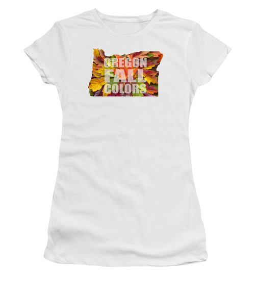 Oregon Maple Leaves Mixed Fall Colors Text Women's T-Shirt (Athletic Fit)