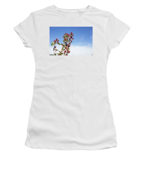 Women's T-Shirt (Junior Cut) featuring the photograph Organic Handpicked Home Orchard Raspberries,blackberries From Bu by Jingjits Photography