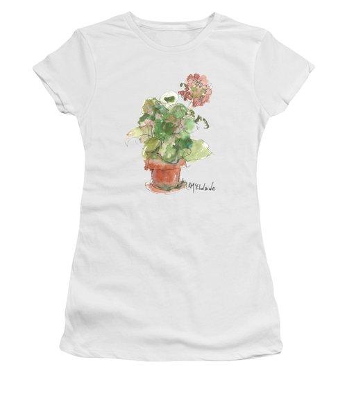 Original Buspaintings Geranium Watercolor Painting By Kathleen Mcelwaine Women's T-Shirt
