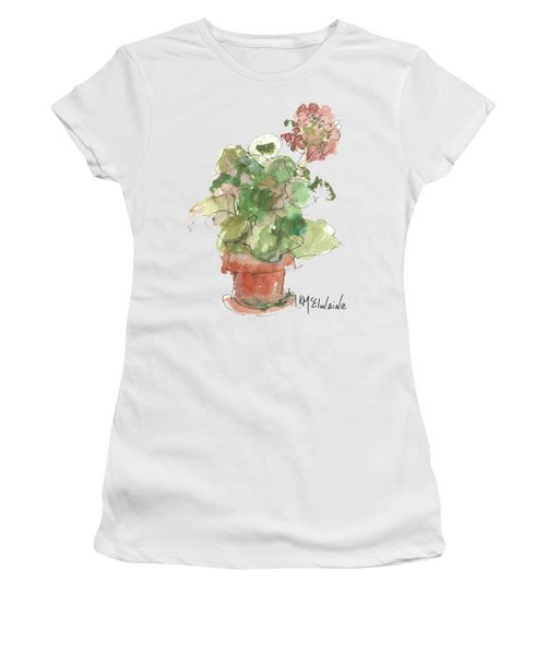 Original Buspaintings Geranium Watercolor Painting By Kathleen Mcelwaine Women's T-Shirt (Athletic Fit)
