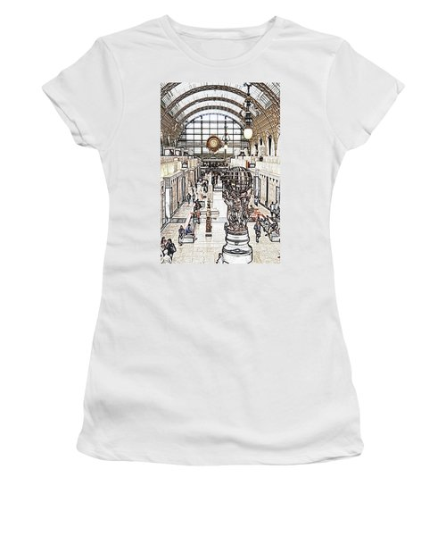 Orsay Museum Interior Paris France Colored Pencil Digital Sketch Women's T-Shirt