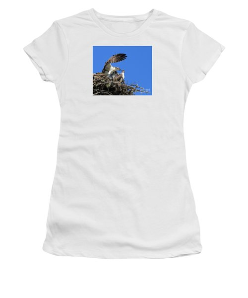 Women's T-Shirt (Junior Cut) featuring the photograph Osprey Chicks Ready To Fledge by Debbie Stahre