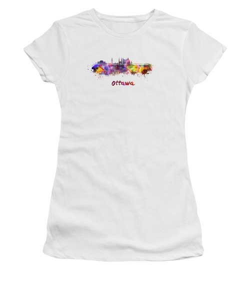 Ottawa V2 Skyline In Watercolor Women's T-Shirt
