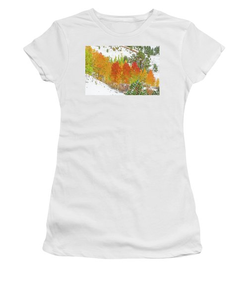 Our Winter Begins Around Mid October.  Women's T-Shirt (Junior Cut) by Bijan Pirnia