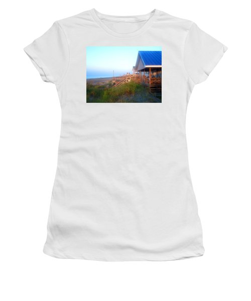 Women's T-Shirt (Junior Cut) featuring the photograph Outerbanks Sunrise At The Beach by Sandi OReilly