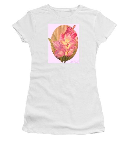 Oval Gladiolas               11x14 Women's T-Shirt (Junior Cut) by Sherril Porter