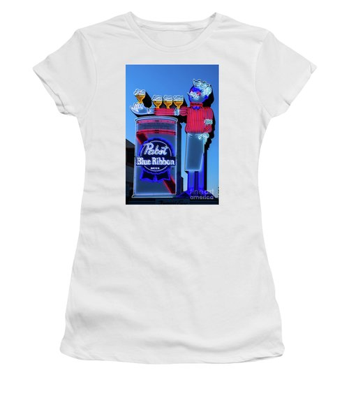 Pabst Blue Ribbon Neon Sign Fremont Street Women's T-Shirt (Junior Cut) by Aloha Art