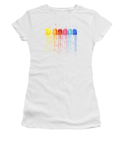 Pacman Watercolor Rainbow Women's T-Shirt (Junior Cut) by Olga Shvartsur