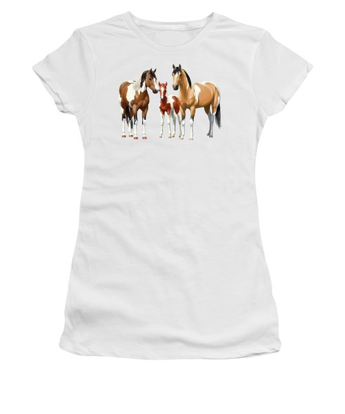 Paint Horses In Winter Corral Women's T-Shirt (Athletic Fit)