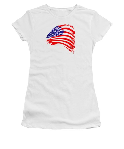 Painted American Flag Women's T-Shirt