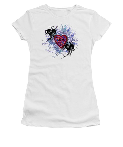 Women's T-Shirt (Junior Cut) featuring the digital art Painted Heart 3 by Christine Perry
