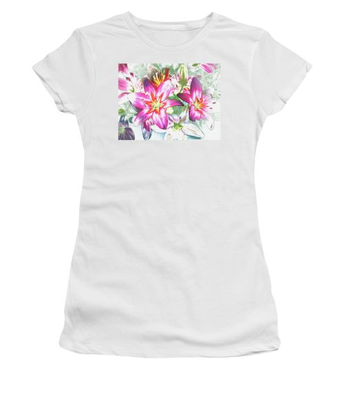 Women's T-Shirt (Junior Cut) featuring the painting Painterly Pink Tiger Lilies by Annie Zeno