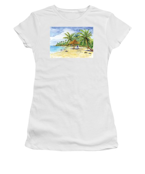 Palappa N Adirondack Chairs On A Caribbean Beach Women's T-Shirt