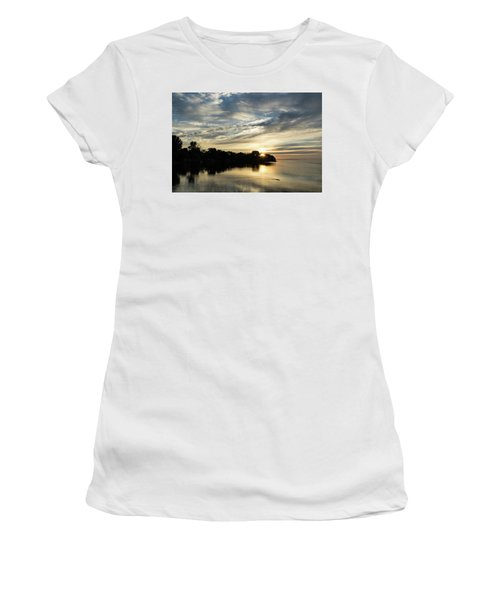 Pale Gold Sunrays - A Cloudy Sunrise With Two Ducks Women's T-Shirt