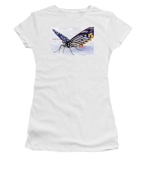 Women's T-Shirt (Athletic Fit) featuring the digital art Pallete Knife Painting Blue Butterfly by PixBreak Art